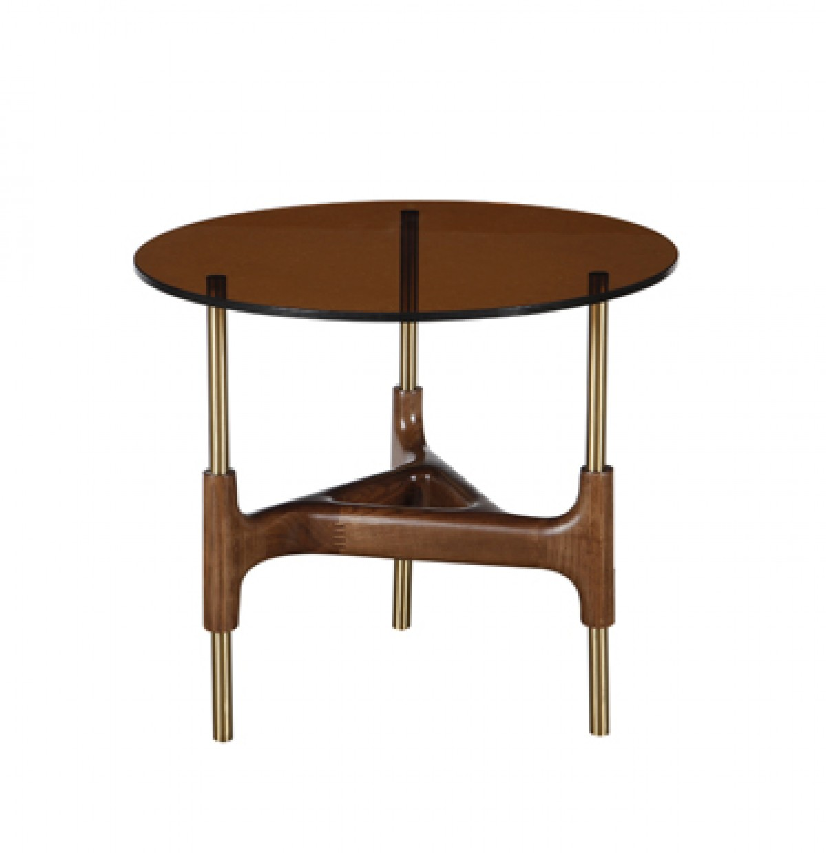 Small Round Glass End Table Modrest Lawson Modern Round Walnut Glass End Table End Tables