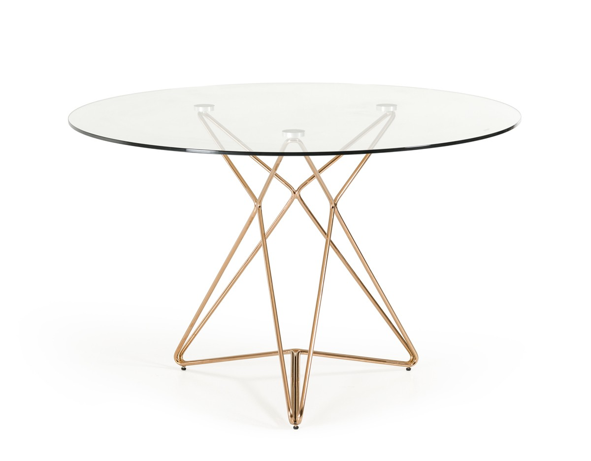 Table Glasses Modrest Ashland Modern Glass Round Dining Table