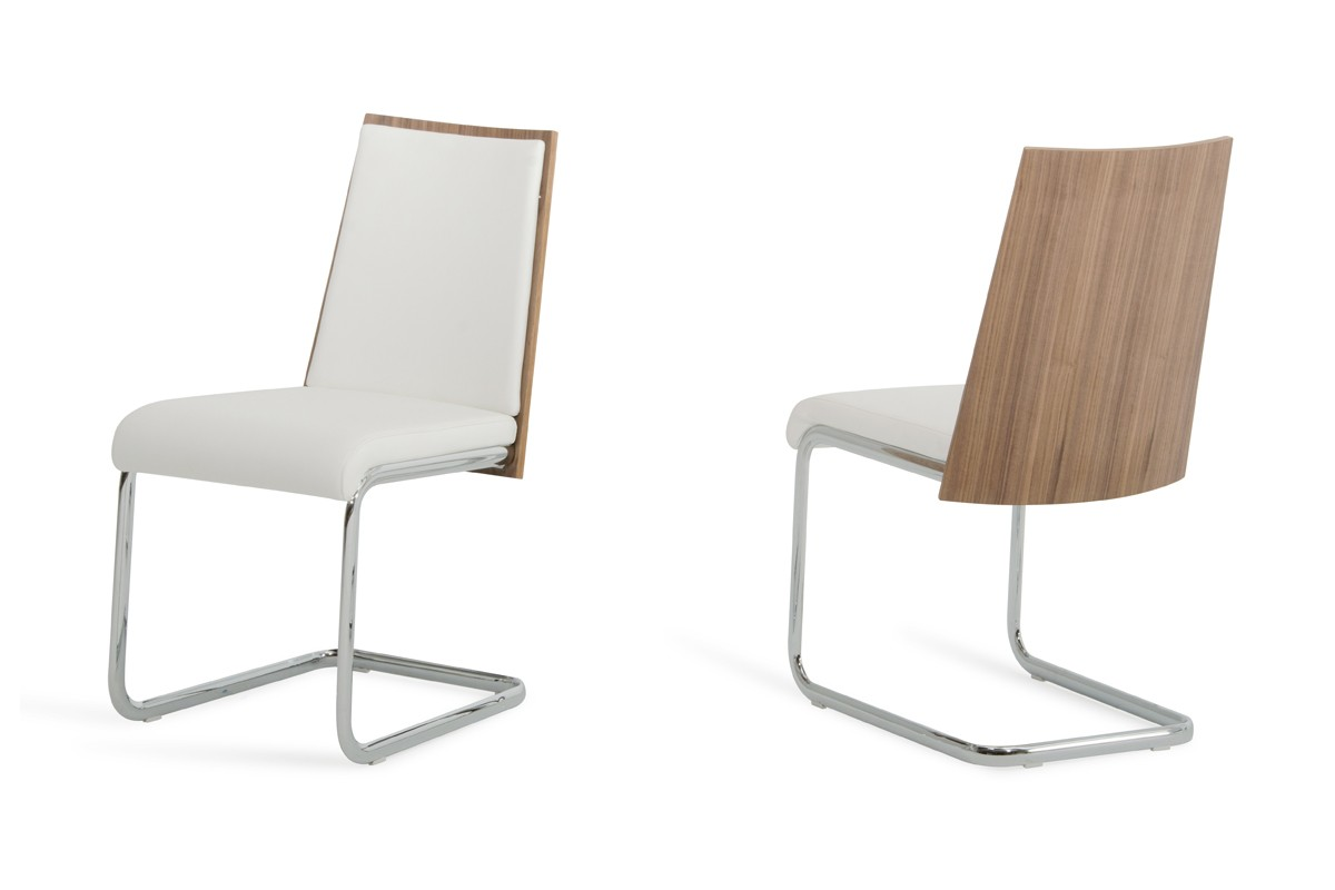 White Modern Chair Morgan Modern White And Walnut Dining Chair Set Of 2