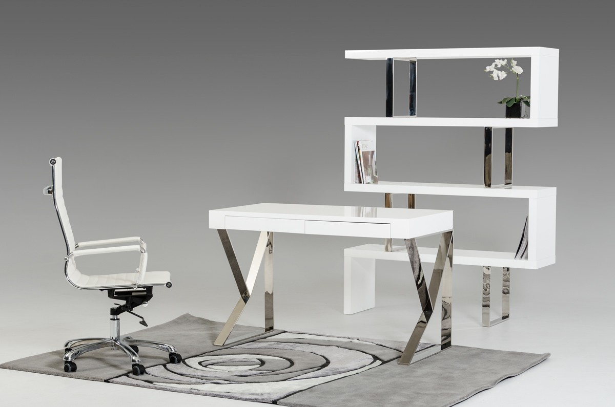 White Office Desk Modrest Ferris Modern White Lacquer Office Desk