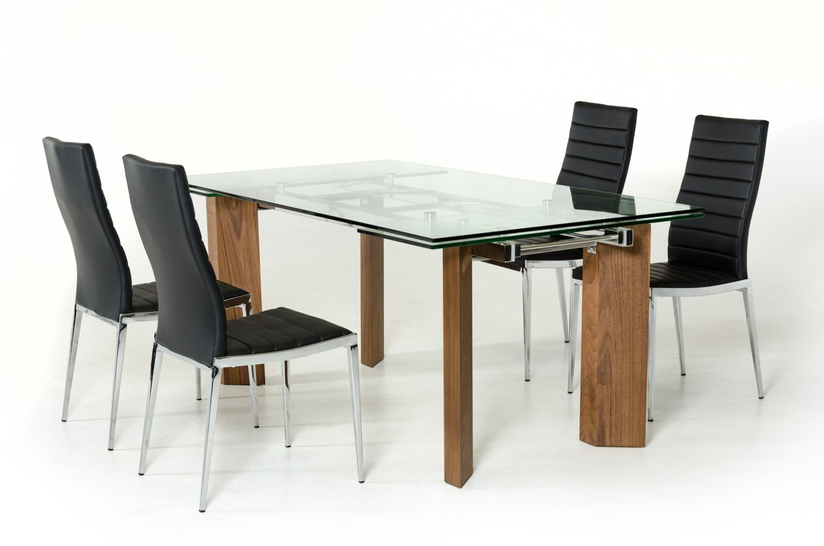 Modern Extending Dining Table Modrest Helena Modern Extendable Glass Dining Table