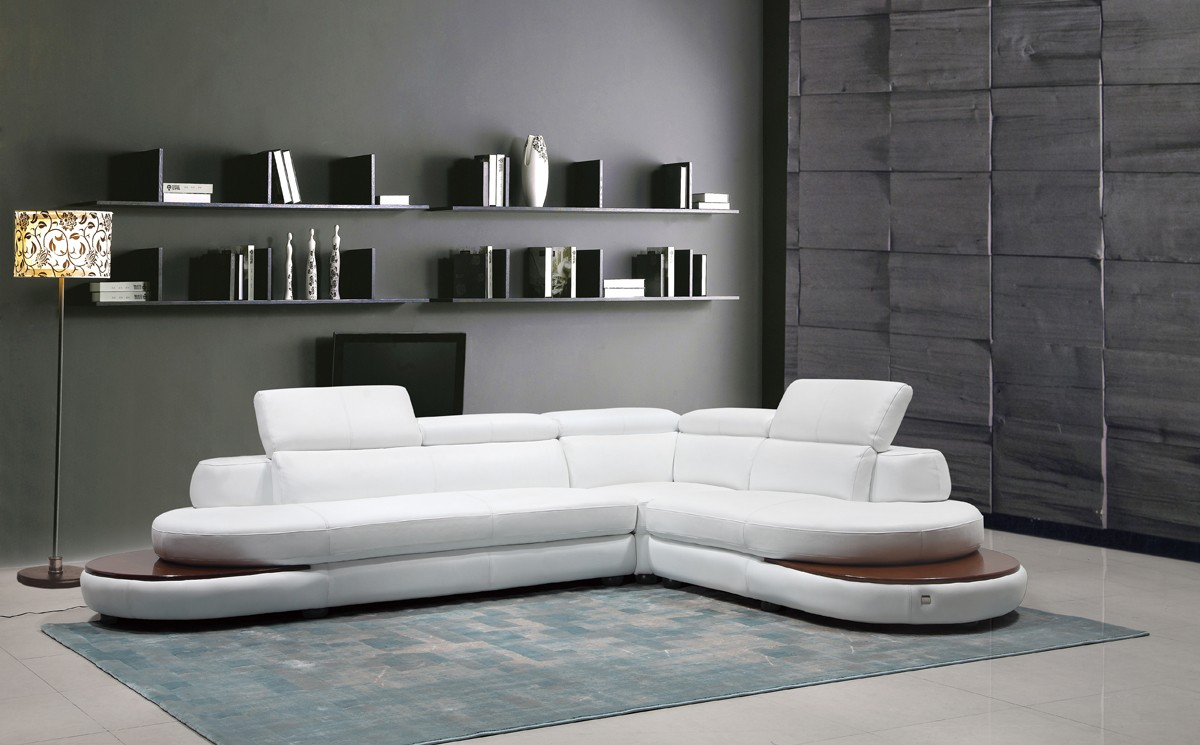 Divani Leather Sofa For Sale Divani Casa Killian Modern White Italian Leather Sectional Sofa
