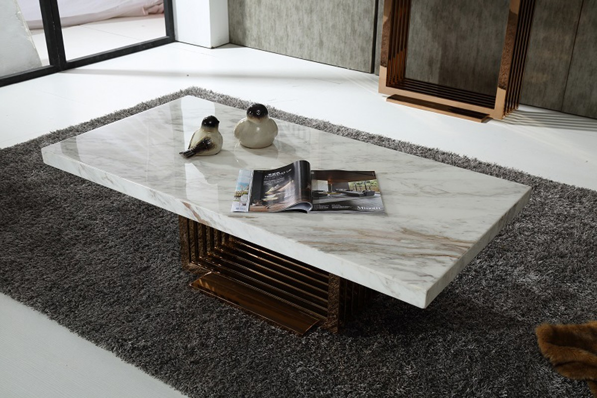 Couchtisch Marmor Eiche Modrest Kingsley Modern Marble & Rosegold Coffee Table