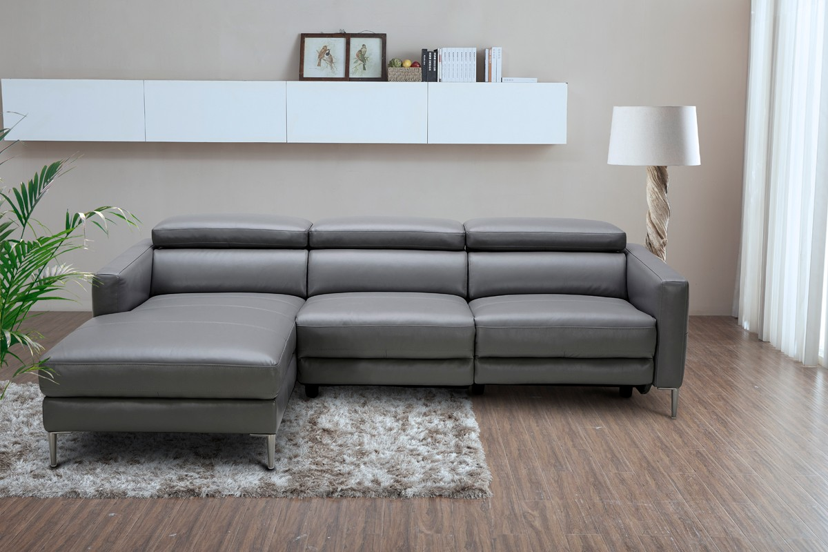 Leather Sectional Sofa Recliner Divani Casa Booth Modern Dark Grey Leather Sectional Sofa W
