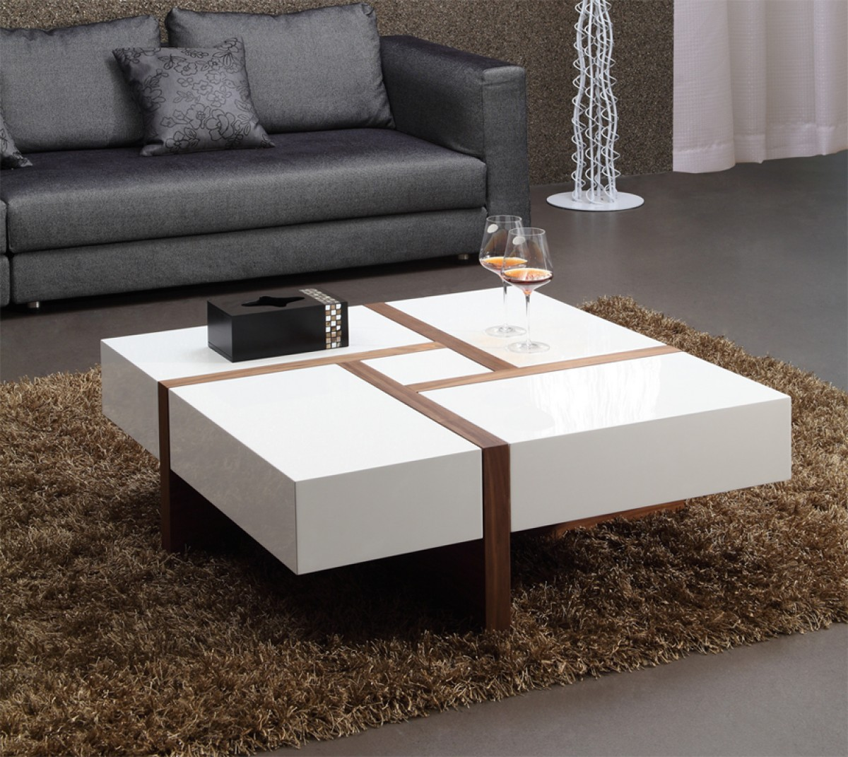 Modern Contemporary Square Coffee Tables Modrest Makai Modern White And Walnut Square Coffee Table