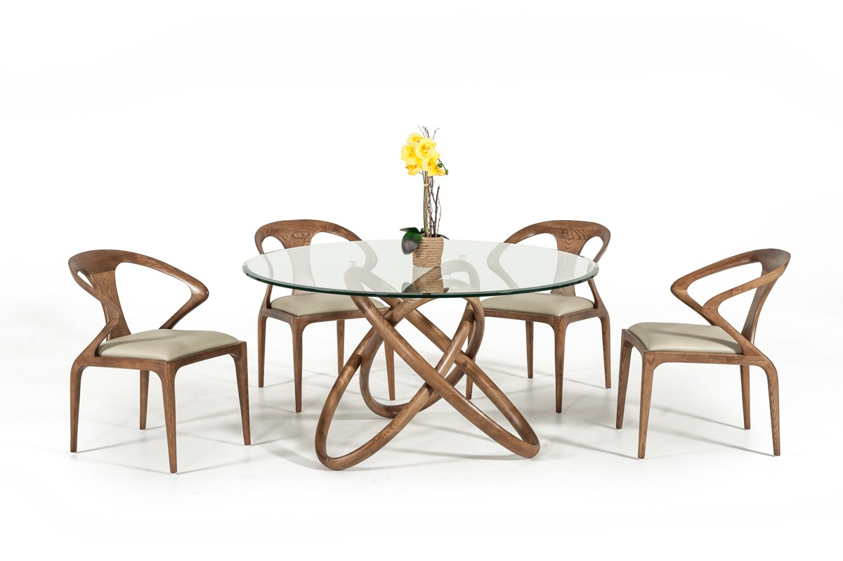 Modern Round Glass Dining Table Modrest Mason Modern Round Glass Walnut Dining Table
