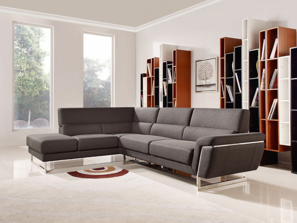 Sectional Sofa Living Room Layout Divani Casa Navarro Modern Brown Fabric Sectional Sofa Sofas