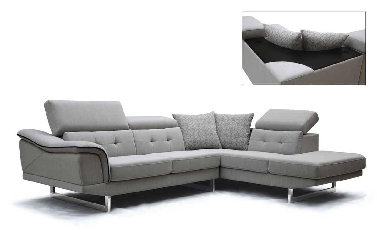 Moderne Sofa Divani Casa Gaviota Modern Grey Fabric Sectional Sofa