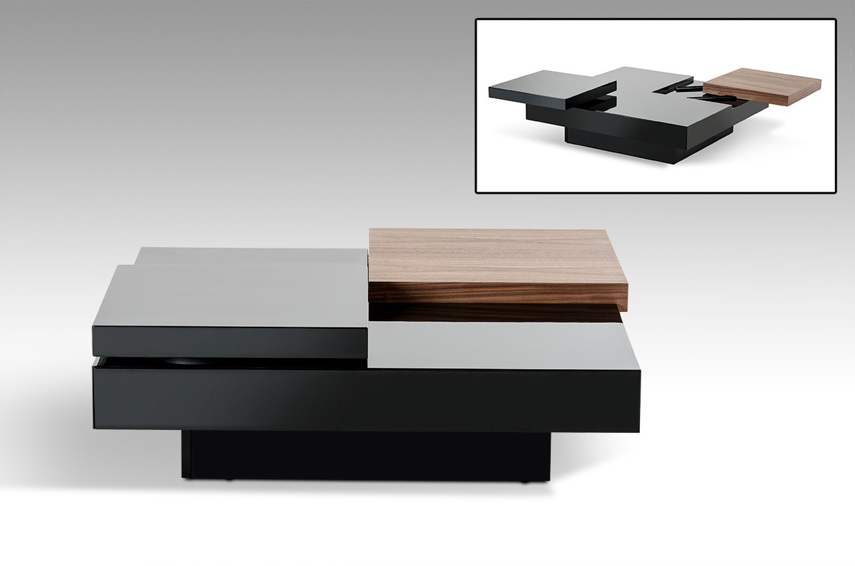 Modern Black And White Coffee Table Modrest Ambry Modern Walnut And Black Coffee Table