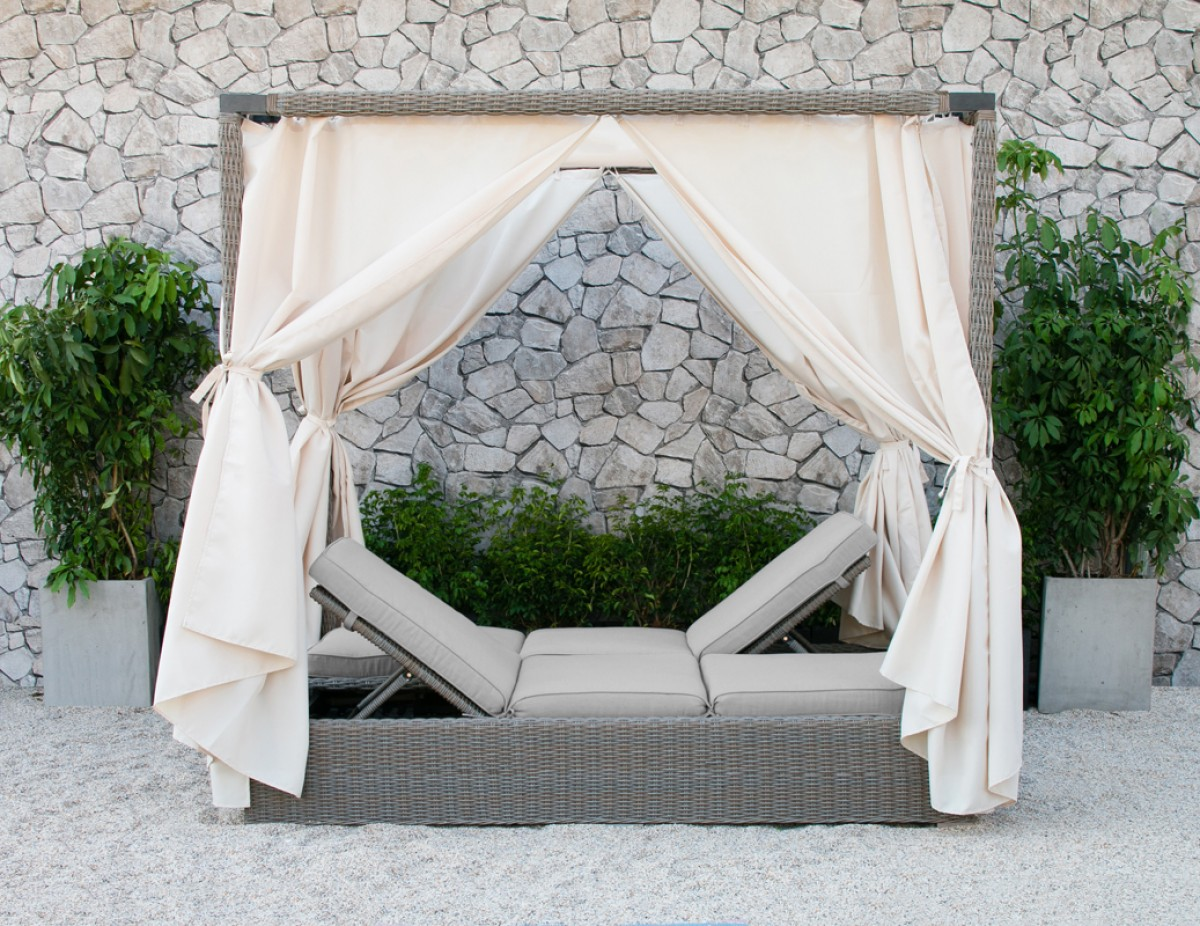 Outdoor Lounge Bed Renava Marin Outdoor Beige Canopy Sunbed - Outdoor
