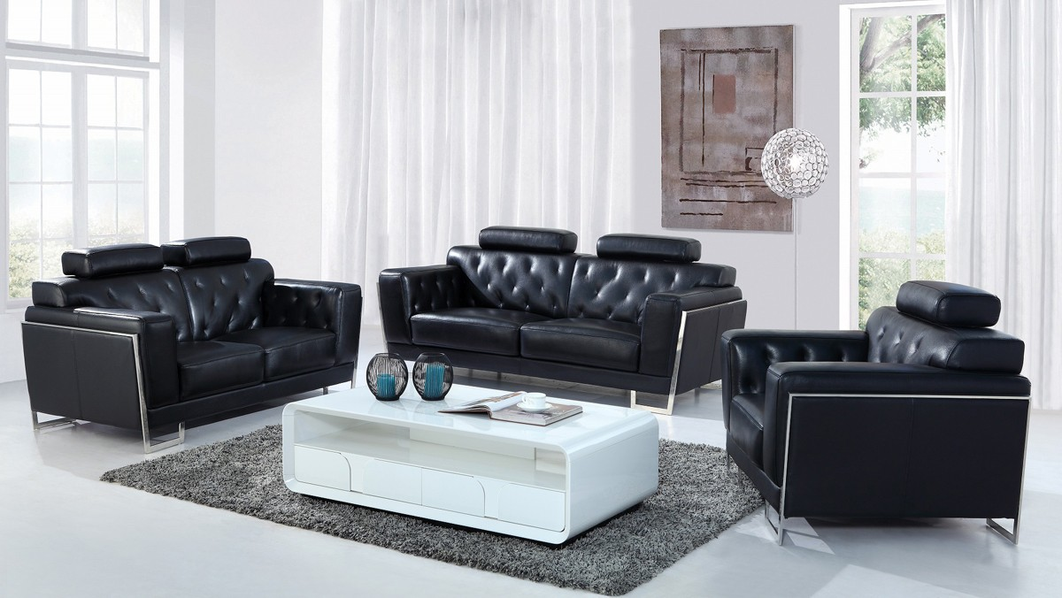 Divani Casa Encore Divani Casa Huron Modern Black Leather Sofa Set