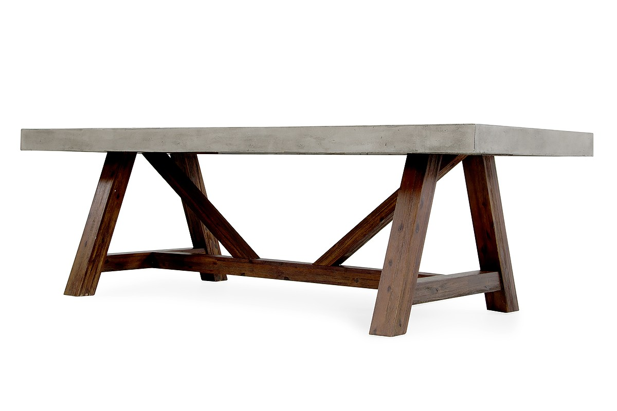 Acacia Dining Table Modrest Revok Modern Concrete And Acacia Dining Table