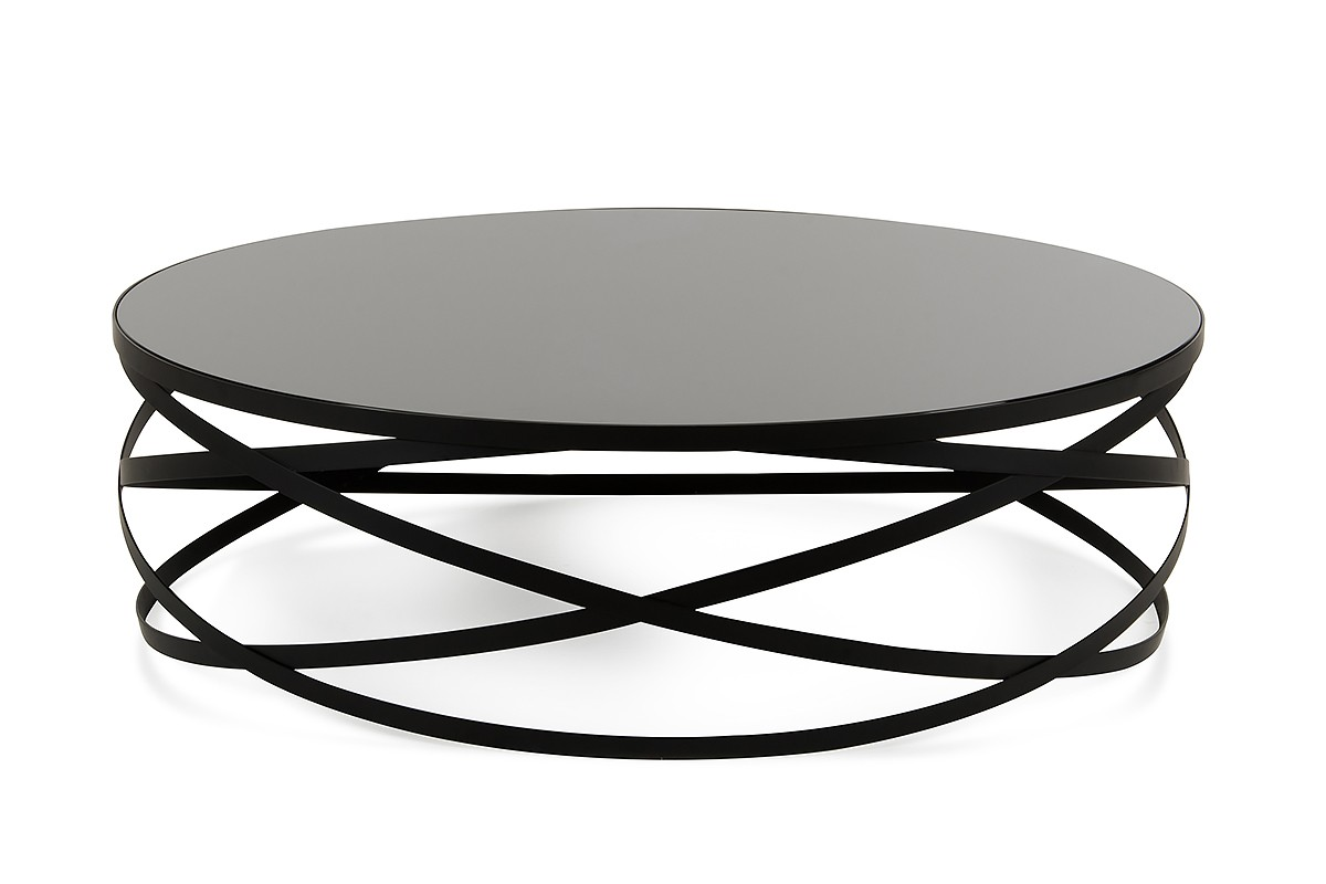 Runder Couchtisch Schwarz Modrest Wixon Modern Black Round Coffee Table