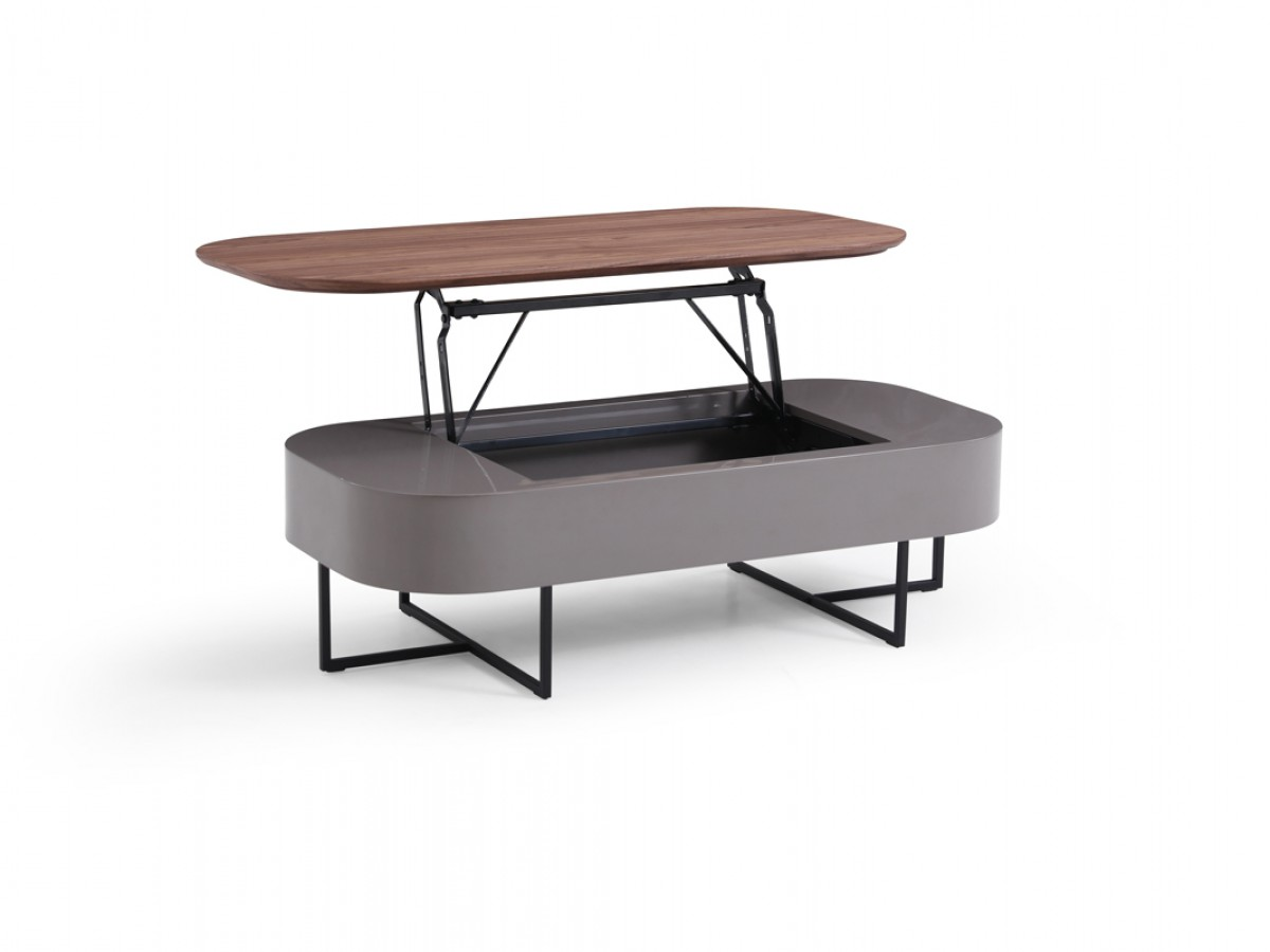 Grey Modern Coffee Table Modrest Reid Modern Walnut And Grey Coffee Table