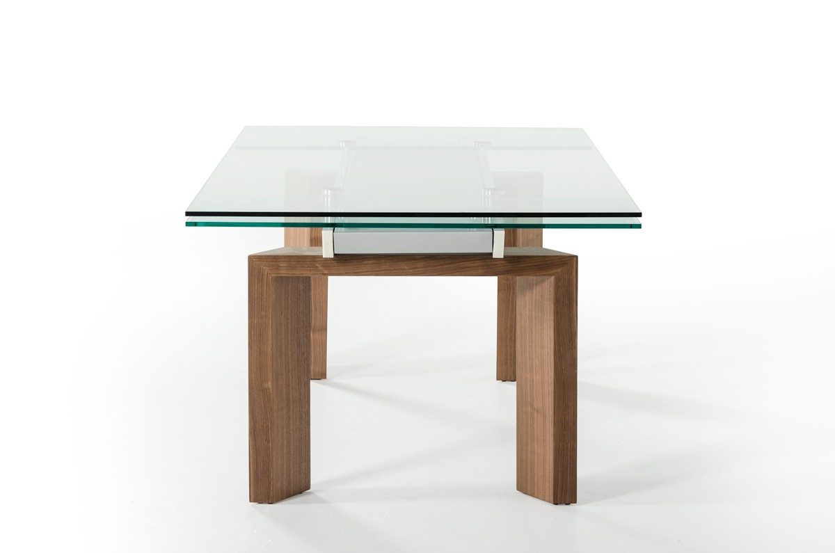 Italian Glass Dining Table Extendable Modrest Bijou Contemporary Extendable Walnut And Glass