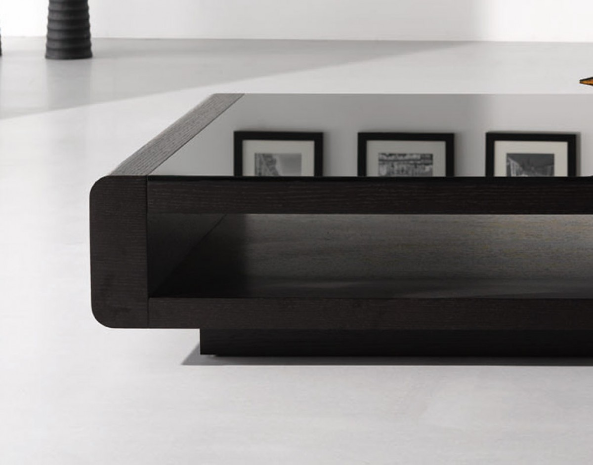 Modern Black And White Coffee Table Modrest Lignite Modern Black Oak Coffee Table Coffee