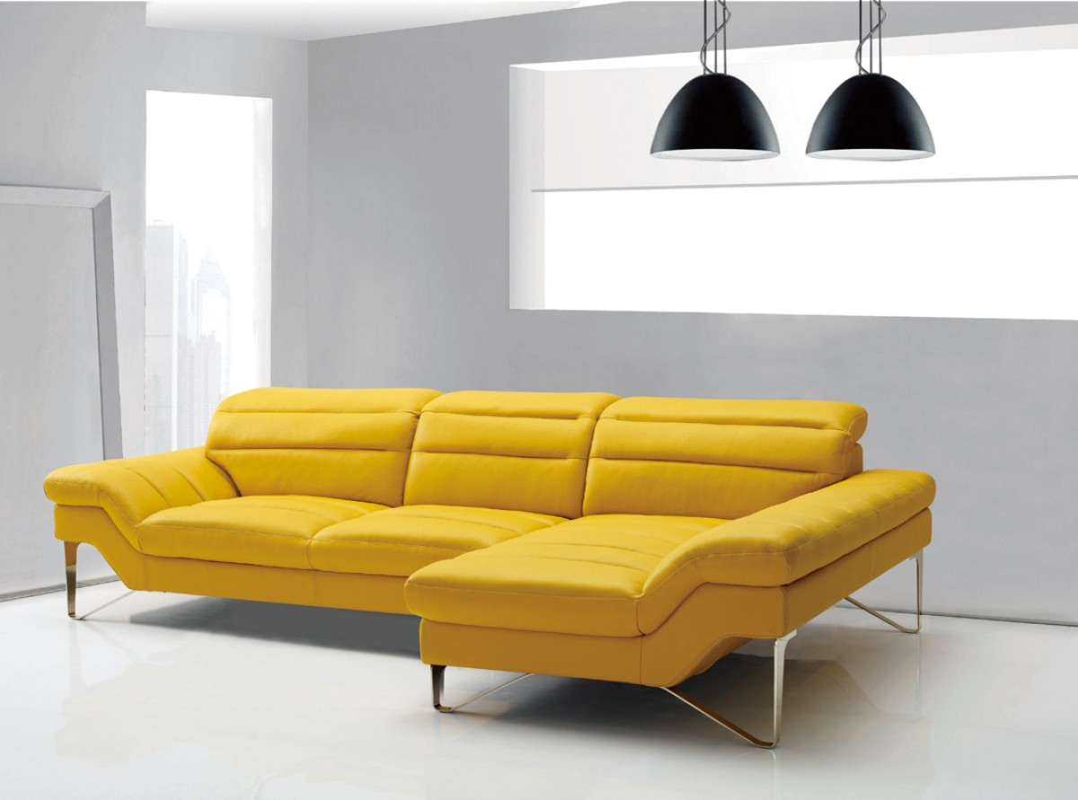 Gelbe Möbel Divani Casa Leven Modern Yellow Leather Sectional Sofa