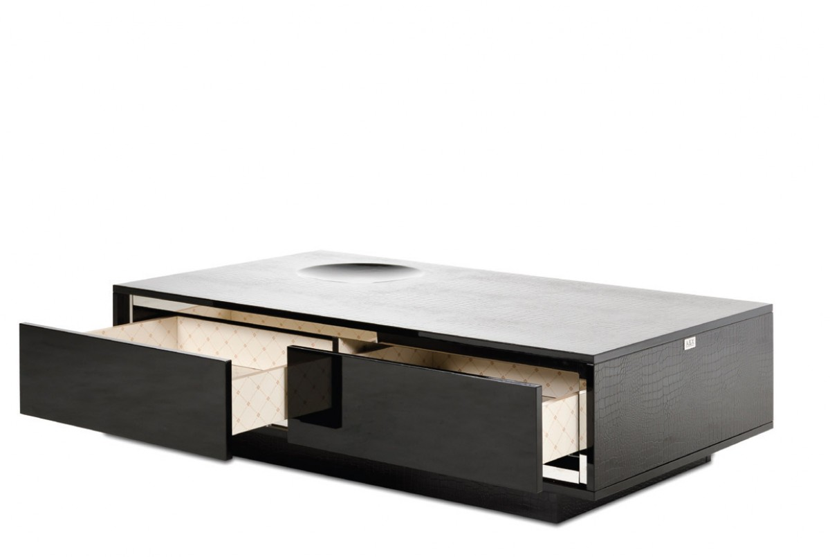 Black Coffee Table Modern A Andx Grand Modern Black Crocodile Lacquer Coffee Table