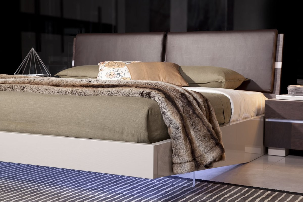 Office Sofas And Chairs Modrest Anzio - Contemporary Floating Bed With Led Lights