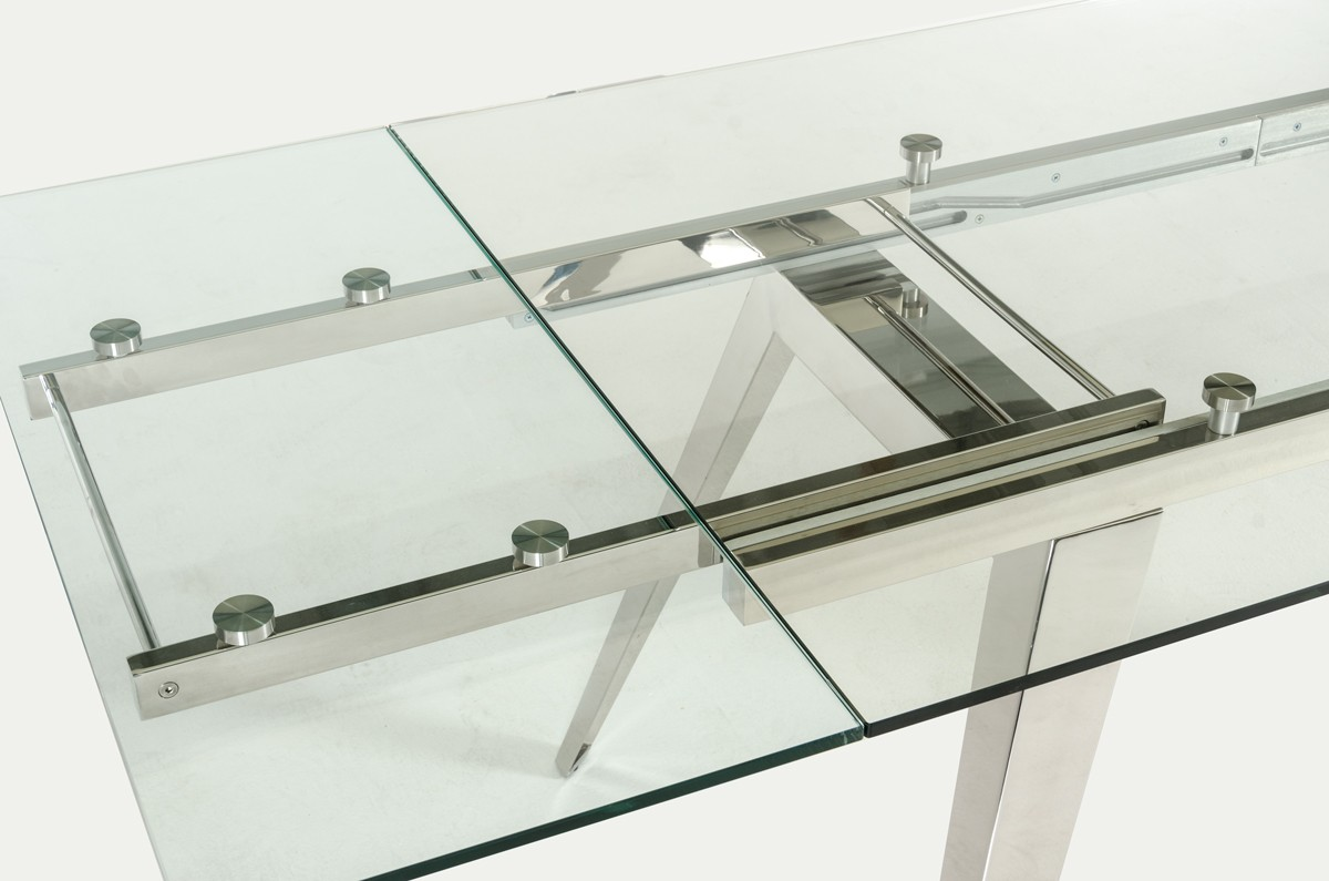 Glass Table Extendable Modrest Barium Modern Extendable Glass Dining Table