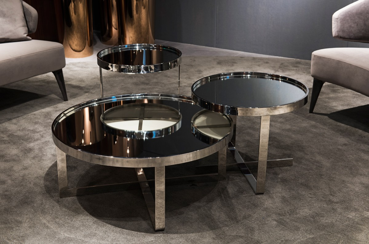 Coffee Table And Dining Table In One Modrest Wilcox Contemporary Mirrored Coffee Table Set