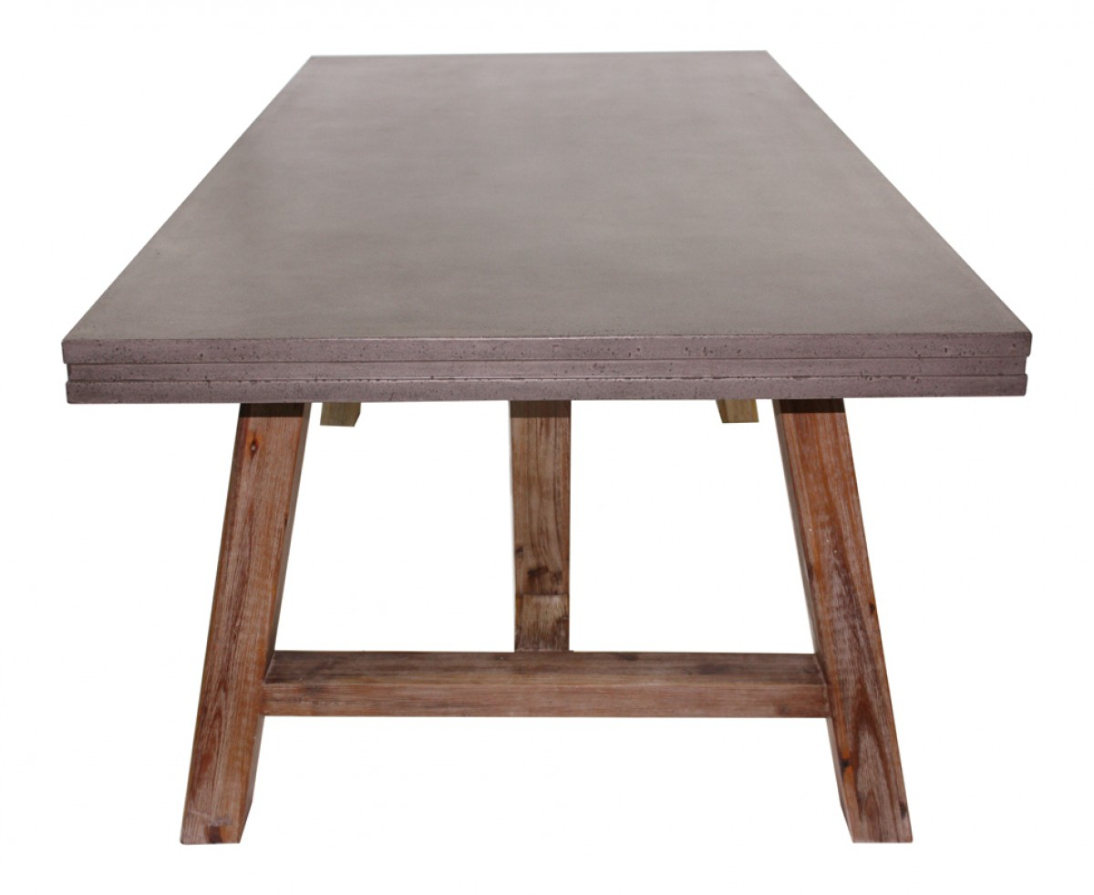 Acacia Dining Table Modrest Civic Modern Concrete And Acacia Dining Table