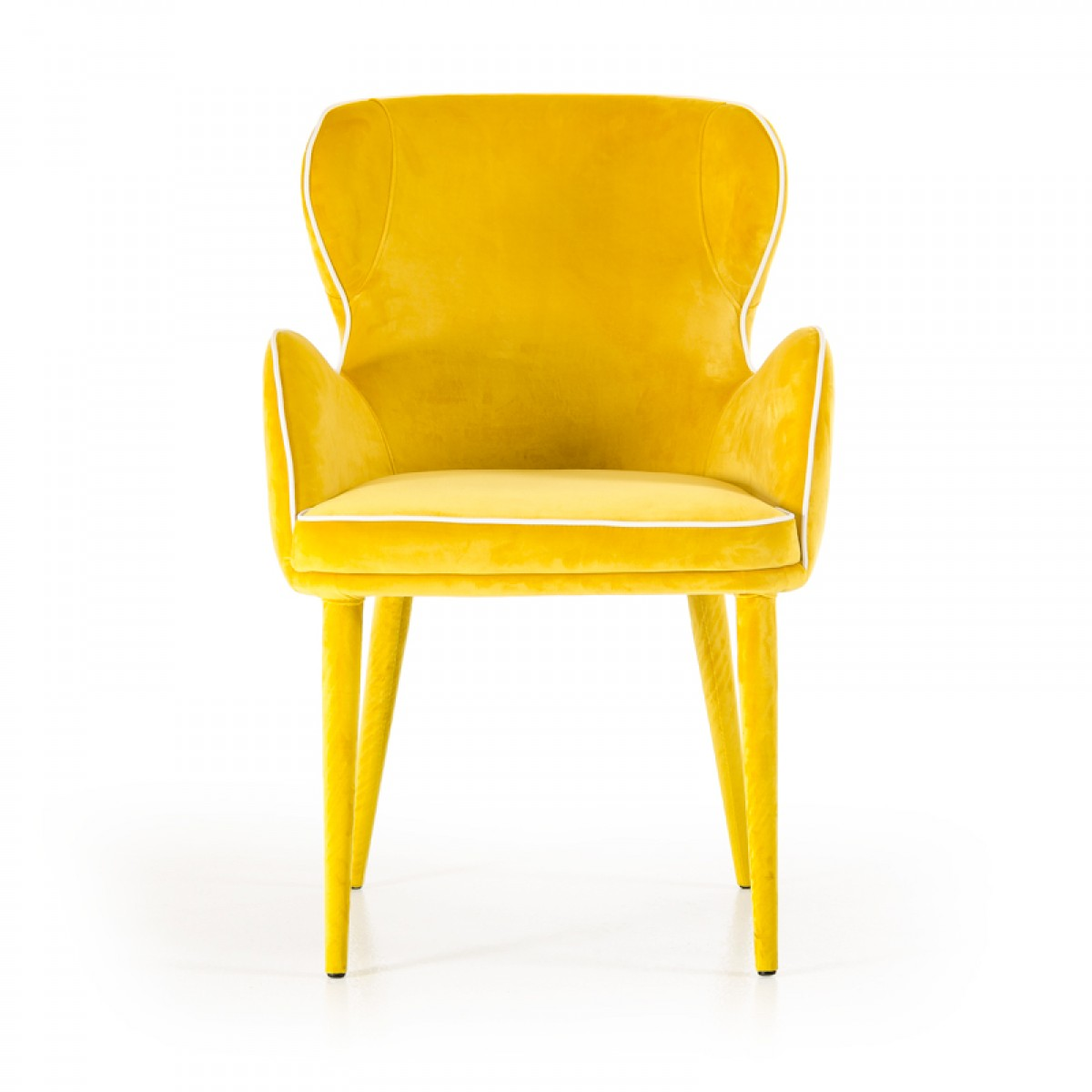 Stuhl Gelb Modrest Tigard Modern Yellow Fabric Dining Chair - Dining