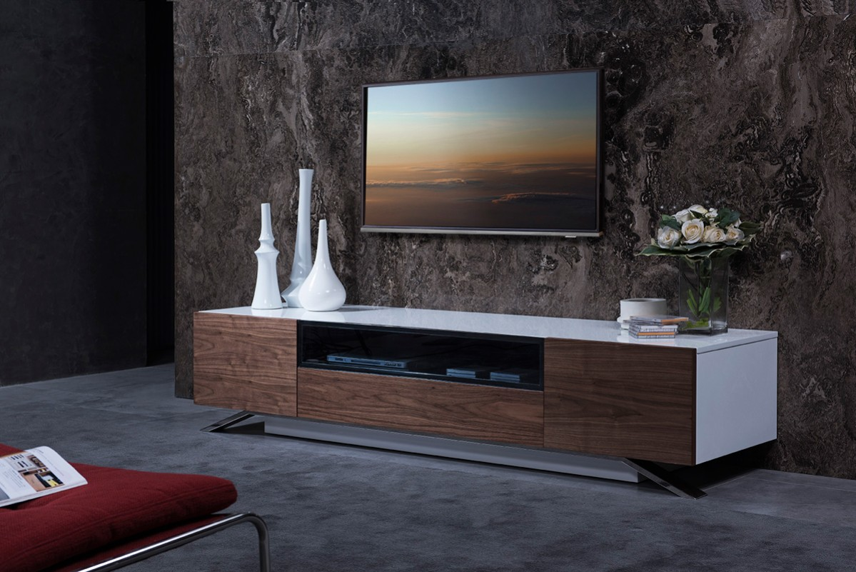 Modern Tv Base Modrest Gillian Contemporary White And Walnut Tv Stand