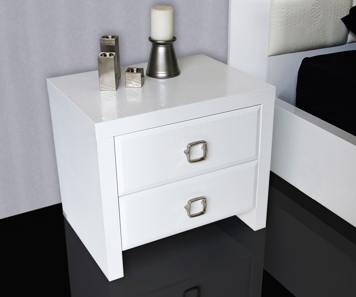 White 6 Drawer Chest A&x Glam - White Crocodile Lacquer Bed With Faux Crocodile