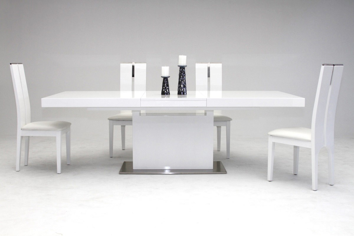 Modern White Dining Table Modrest Zenith Modern White Extendable Dining Table