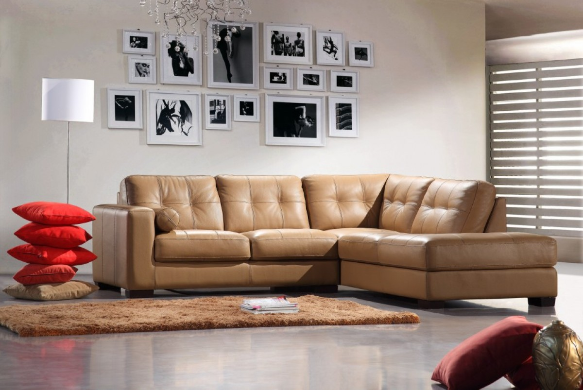Divani Casa Italia Srl Divani Casa 306ang Camel Leather Sectional Sofa Collections