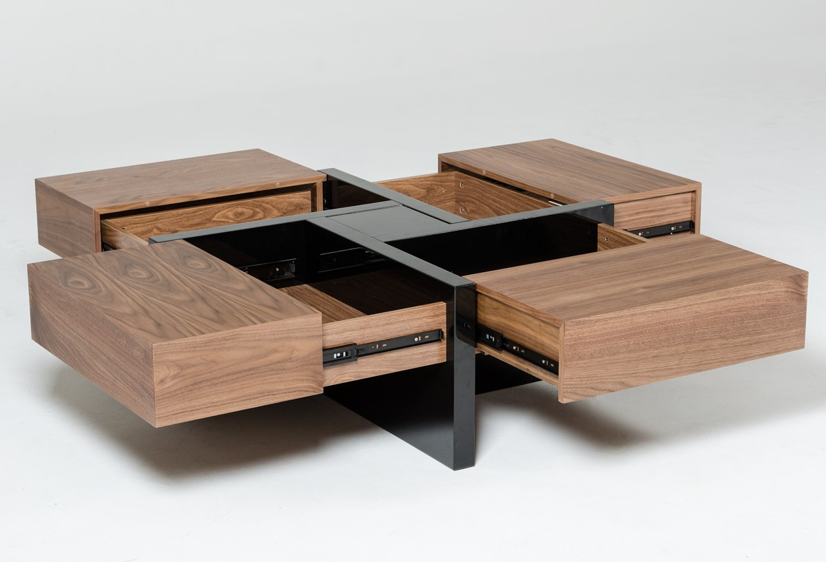 Modern Contemporary Square Coffee Tables Modrest Makai Modern Walnut And Black Square Coffee Table