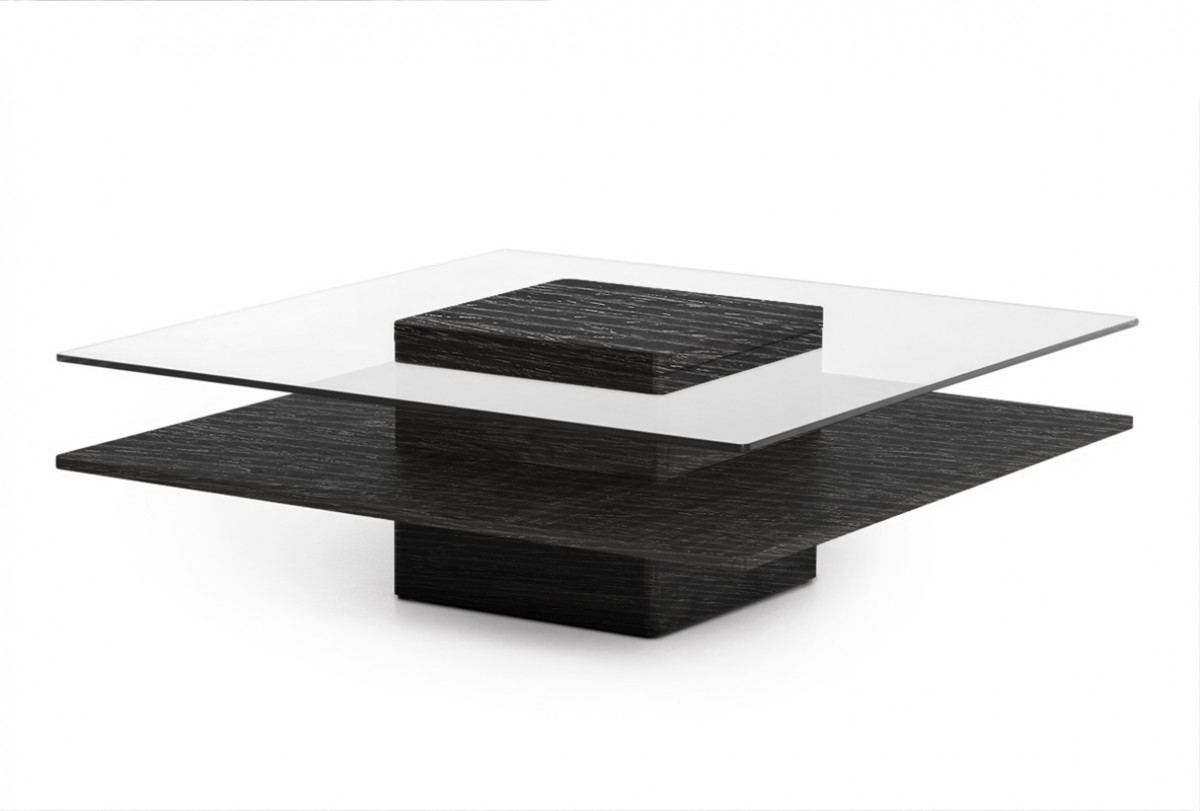 Grey Modern Coffee Table Modrest Clarion Modern Grey Elm And Glass Coffee Table
