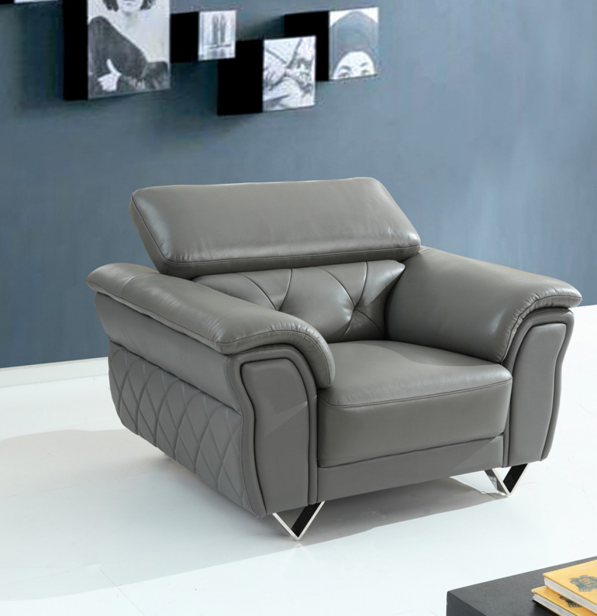 Divani Sofa Set Divani Casa Perry Modern Grey Leather Sofa Set