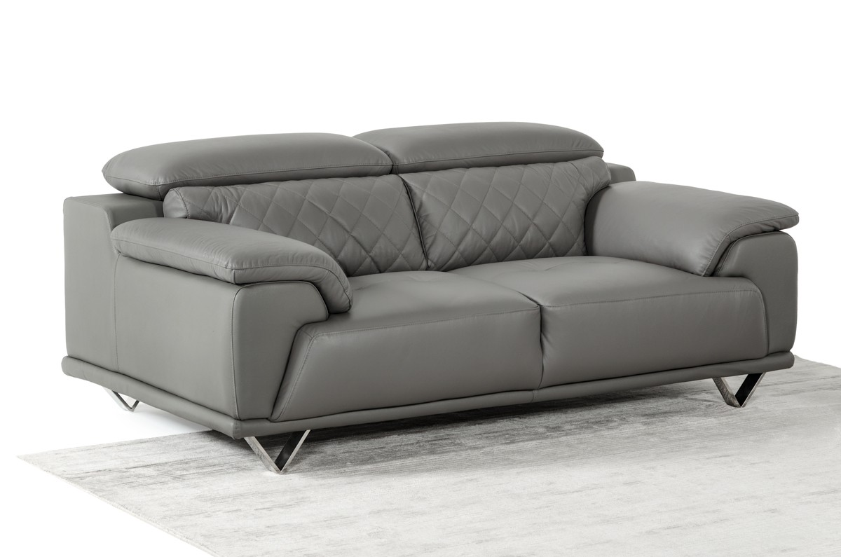 Divani Sofa Set Divani Casa Wolford Modern Grey Leather Sofa Set