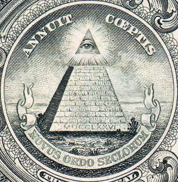 The Great Seal of the United States features the unfinished Great Pyramid of Giza, a symbol of the unfinished work of the Esoteric Orders: a New World Order. The Seal was adopted on the American dollar by Franklin Delano Roosevelt, a 32nd Degree Freemason and a Knight of Pythias with ties Manly P. Hall.