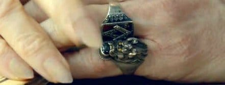 Looking closer at the Devil's rings, one of them is clearly Masonic. Why would this symbol be there...unless they want it to be there.
