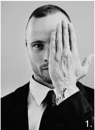 Here's Pistorius giving the Illuminati One-Eyed salute. Yeah, there's some occult elite Agenda going on with that guy.