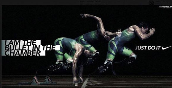 "Oscar Pistorius, the Olympic athlete with prosthetic legs and figurehead of transhumanism was charged last month for the murder of his girlfriend. Oddly enough, the slogan of the Nike ad campaign featuring Pistorius was ""I am the bullet in the chamber""."