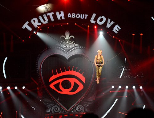 The set of Pink's show features a big, red prominent All-Seeing Eye. Why? Because. It has to be everywhere.