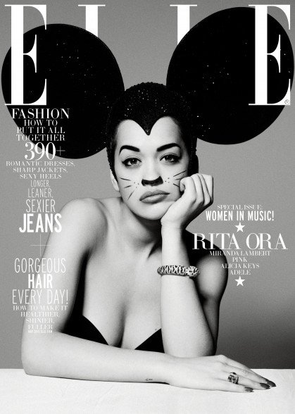 "Speaking of Disney, I described many times how Mickey Mouse ears are ""codes"" for MK Mind Control as they refer to ""Disney Programming"". Here's Rita Ora on the cover of ELLE wearing gigantic ears and not looking too pleased by it."