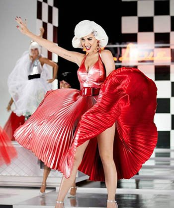 Katy Perry is definitely used to push the Illuminati Agenda - including Beta Programming symbolism. Here she is posing as Monroe with a Masonic checkerboard pattern in the back.