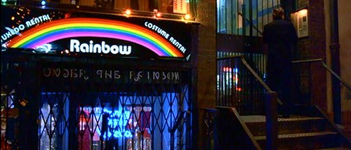 "The name of the store where Bill rents his elite ritual costume: ""Rainbow"". The name of the store under it: ""Under the Rainbow""."