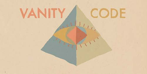 The first thing we see in the video: the Vanity Code logo. It's an all-seeing eye inside a pyramid. Illuminati right there.