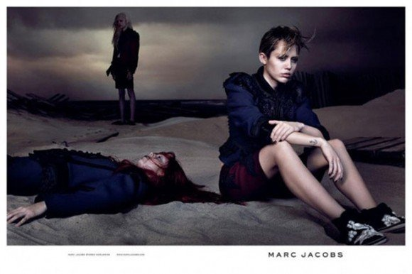 Miley Cyrus is the new face of Marc Jacobs. She is posing here next to what appears to be a dead girl.