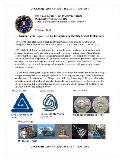 FBI file describing symbols used by children abuse networks.