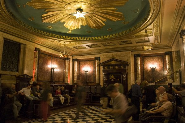 """A Masonic lodge at Andaz Hotel in London. Looks oddly similar to the stage MJ's hologram """"performs"""" on."""