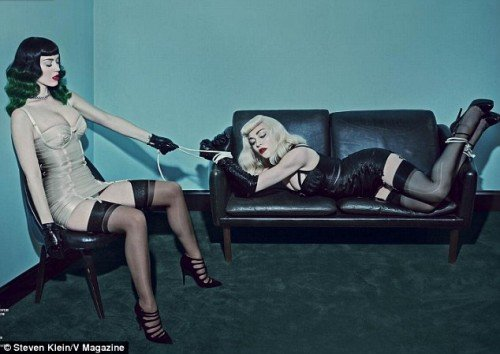 Katy Perry also recently appeared in V magazine with Madonna doing some MK sex-kitten stuff. Here she is looking completely dissociated with Madonna whose probably telling herself that she's getting tool old for this.