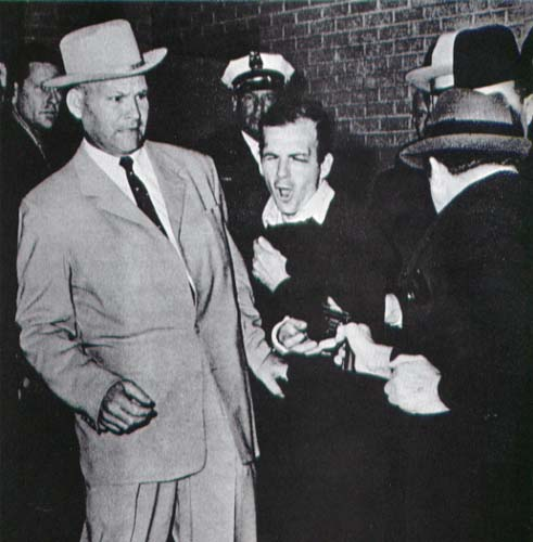 The legendary picture of Lee Harvey Oswald being shot by Jack Ruby. The event was televised live to millions of viewers.