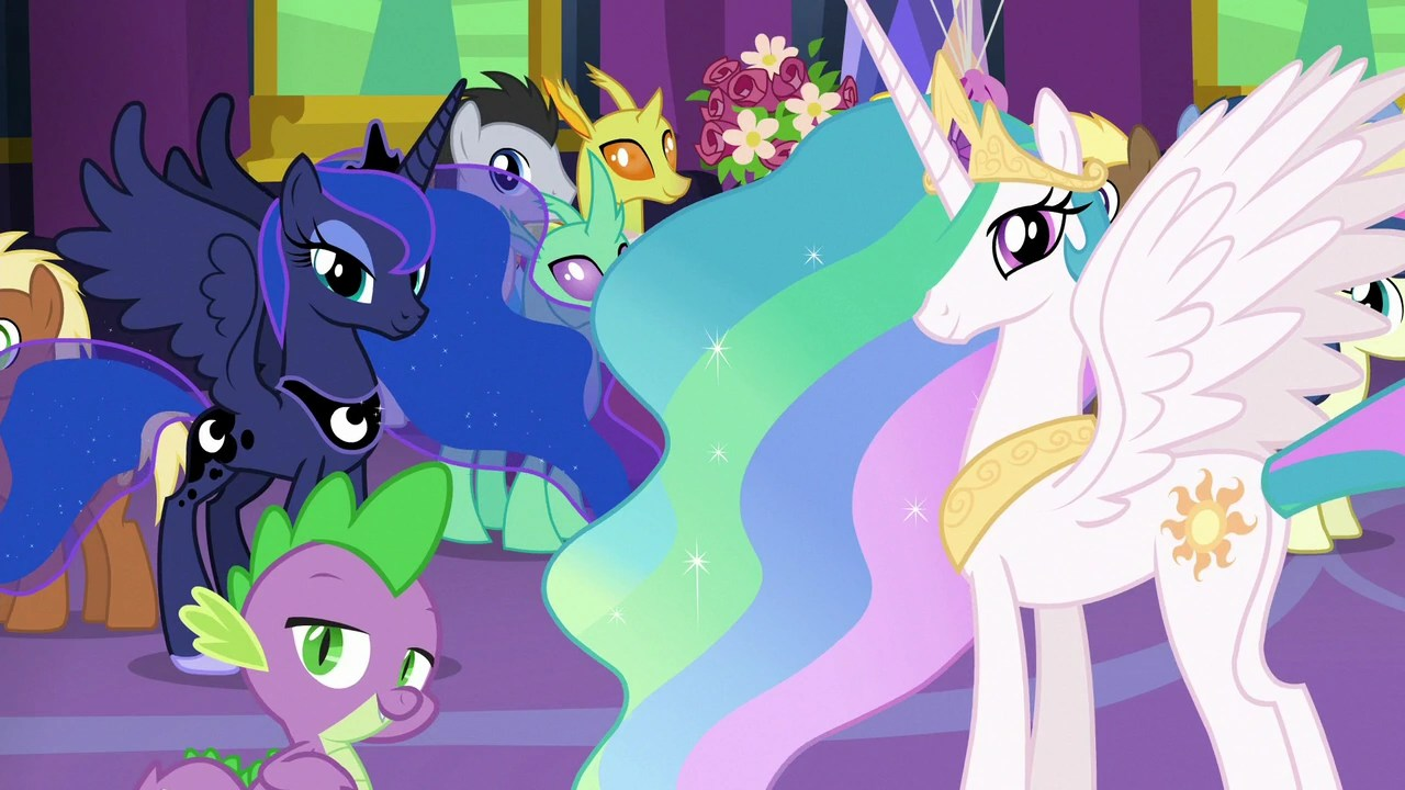 Fluttershy Wallpaper Fall Image Celestia Luna And Spike Looking At Twilight S7e1